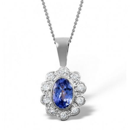 18K White Gold 0.10ct Diamond & 6mm x 4mm Tanzanite Pendant, DCP04-TW